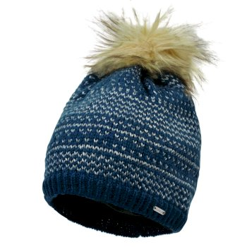 Women's Vitalize Faux Fur Bobble Hat Blue Wing