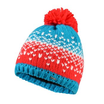 Women's Ideation Bobble Hat Fresh Water Blue Lollipop Red