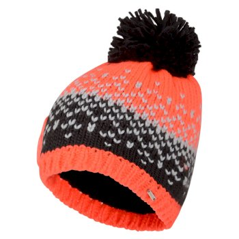 Women's Ideation Bobble Hat Fiery Coral Ebony