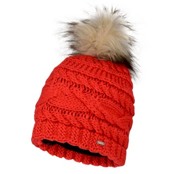Women's Radiance Faux Fur Bobble Hat Lollipop Red