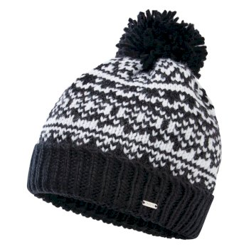 Women's Headlines II Fleece Lined Knit Bobble Beanie Black White