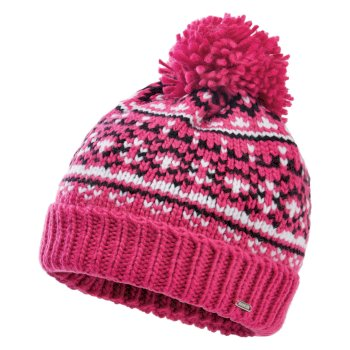 Women's Headlines II Fleece Lined Knit Bobble Beanie Active Pink Black