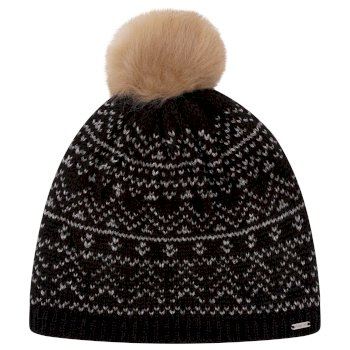Women's Adored Fleece Lined Faux Fur Bobble Beanie Black