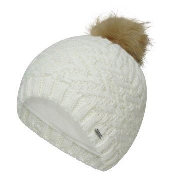 Women's Radiance II Fleece Lined Faux Fur Bobble Knit Beanie White