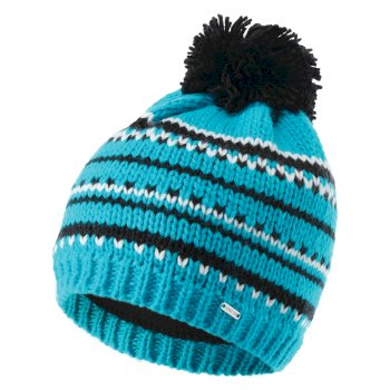 Women's Vibrant Fleece Lined Knit Bobble Beanie Azure Blue Black
