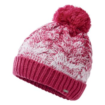 Women's Mystify II Fleece Lined Knit Bobble Beanie Active Pink White