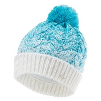 Women's Mystify II Fleece Lined Knit Bobble Beanie Azure Blue White