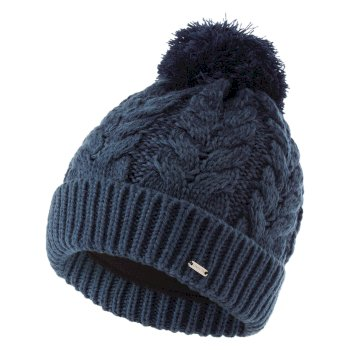 Women's Mystify II Fleece Lined Knit Bobble Beanie Nightfall Navy Dark Denim