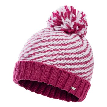 Women's Kudos Fleece Lined Knit Bobble Beanie Active Pink White