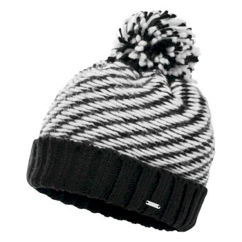 Women's Kudos Fleece Lined Knit Bobble Beanie Black White
