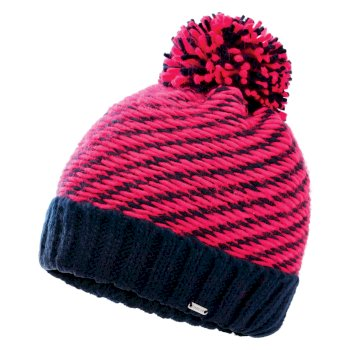 Women's Kudos Fleece Lined Knit Bobble Beanie Nightfall Navy Neon Pink