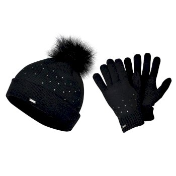 Swarovski Embellished - Women's Bejewel Knitted Hat & Glove Embellished Luxe Set Black