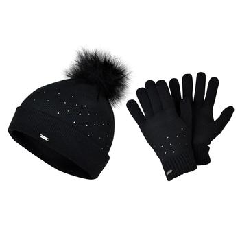 Ensemble bonnet + gangts tricotés Femme BEJEWEL  Noir