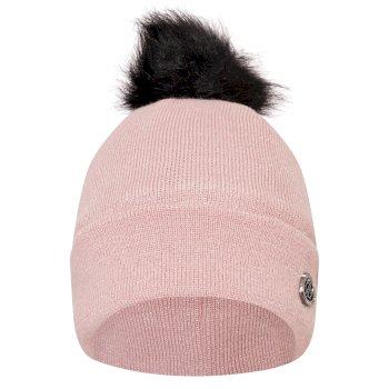 Swarovski Embellished - Women's Bejewel Faux Fur Bobble Hat Powder Pink