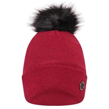 Swarovski Embellished - Women's Bejewel Faux Fur Bobble Hat Beetroot