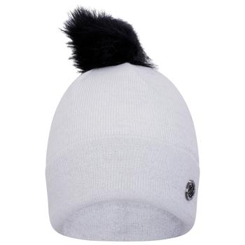 Swarovski Embellished - Women's Bejewel Faux Fur Bobble Hat White