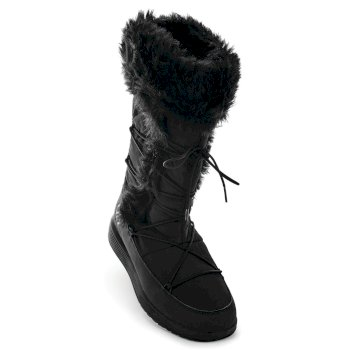 Women's Cazis Faux Fur Collar Trim Boots Black