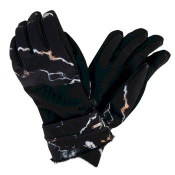 Women's Adulation Luxe Ski Gloves Black Marble Print