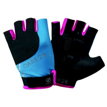 Women's Forcible Fingerless Gloves Blue Jewel Cyber Pink