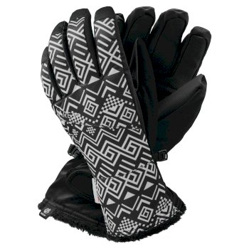 Women's Iceberg Waterproof Insulated Ski Gloves Black White