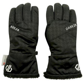 Women's Iceberg Waterproof Ski Gloves Black Cire Dogtooth