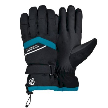Women's Charisma Waterproof Insulated Ski Gloves Azure Blue Black