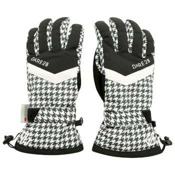 Women's Charisma Waterproof Insulated Ski Gloves Black And White Dogtooth