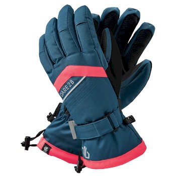 Women's Charisma Waterproof Insulated Ski Gloves Dark Denim Neon Pink