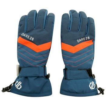 Women's Charisma Waterproof Insulated Ski Gloves Dark Denim Grenadine Orange