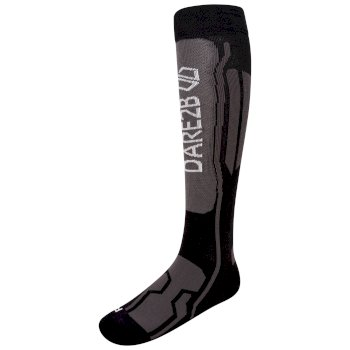 Women's Performance Premium Ski Socks Black Ebony Grey