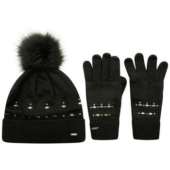 Swarovski Embellished - Women's Bejewel II Hat & Gloves Gift Set Black