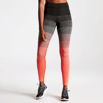 Women's Gumption Print Fitness Leggings Fiery Coral Stripe