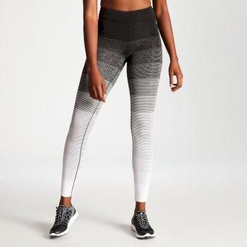 Women's Gumption Print Fitness Leggings Black White Stripe