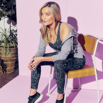 The Laura Whitmore Edit - Influential Lightweight Fitness Tight Powder Pink Wave Print