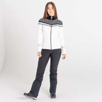 Pull orné de cristaux Swarovski zippé Femme BEJEWEL Blanc