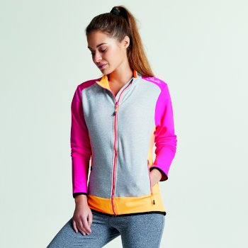 Women's Immerge Full Zip Core Stretch Midlayer Jacket Pink Focus Orange Burst