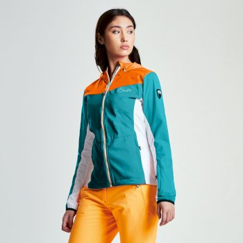 Women's Sovereign Windproof Softshell Jacket Aqua Blue Vibrant Orange