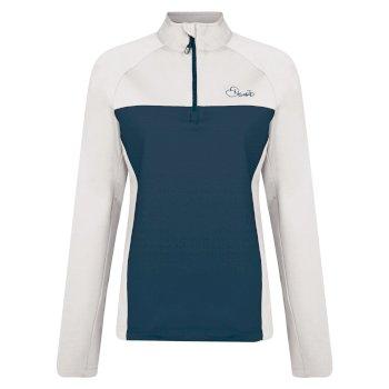 Women's Fury Half Zip Core Stretch Midlayer Blue Wing White