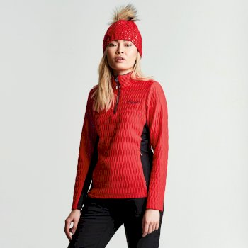 Women's Dilatant Luxe Core Stretch Midlayer Lollipop Red Black