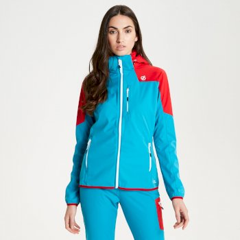 Women's Inquire AEP Softshell Jacket with Detachable Hood Fresh Water Blue Lollipop Red