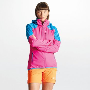 Women's Inquire AEP Softshell Jacket with Detachable Hood Cyber Pink Blue Jewel