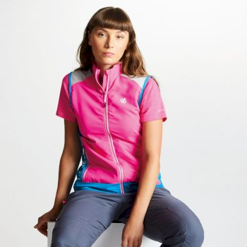 Gilet sans manches technique Femme DUALITY II Cyber Pink Blue Jewel