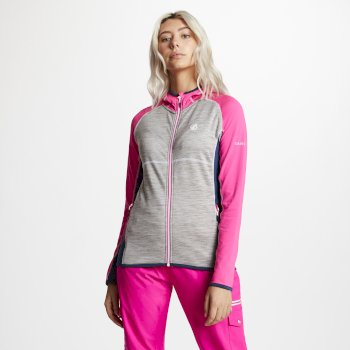 Women's Courteous Lightweight Hooded Core Stretch Midlayer Cyber Pink Ash Grey Blue Wing