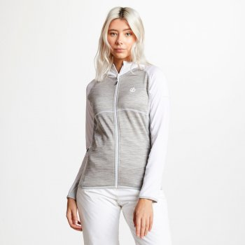 Women's Courteous Lightweight Hooded Core Stretch Midlayer White Ash Argent Grey
