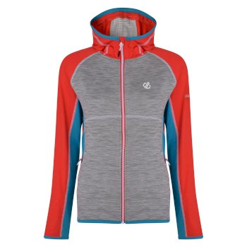 Women's Courteous Lightweight Hooded Core Stretch Midlayer  Ash Grey Freshwater Blue