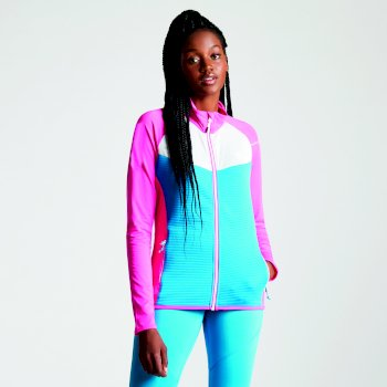Women's Allegiance Lightweight Core Stretch Midlayer Cyber Pink Blue Jewel