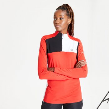 Women's Default Half Zip Core Stretch Midlayer Seville Red Black White