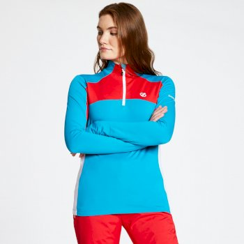 Women's Default Core Stretch Half Zip Midlayer Freshwater Blue Lollipop Red