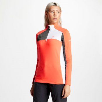 Women's Default Half Zip Core Stretch Midlayer Fiery Coral Charcoal Grey