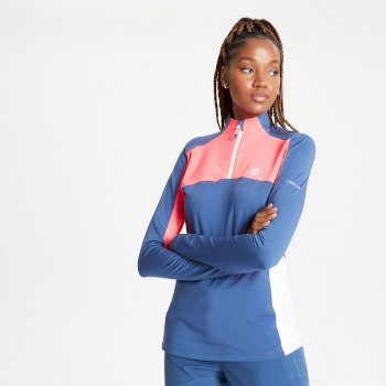 Women's Default Half Zip Core Stretch Midlayer Dark Denim Neon Pink